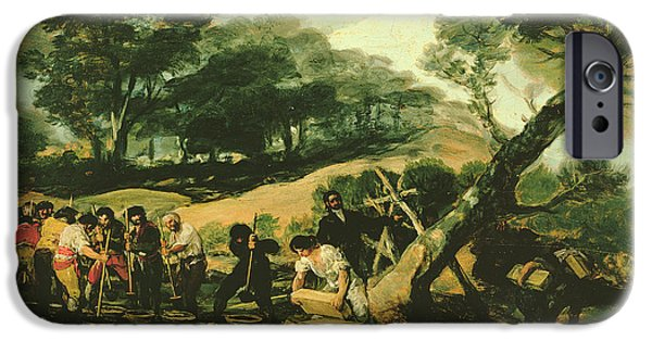 Industry iPhone Cases - Clandestine Manufacture Of Gunpowder, 1812-13 Oil On Canvas iPhone Case by Francisco Jose de Goya y Lucientes