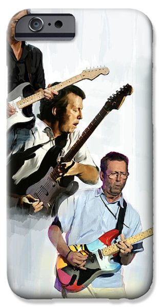Music Drawings iPhone Cases - Clapton Eric Clapton iPhone Case by Iconic Images Art Gallery David Pucciarelli