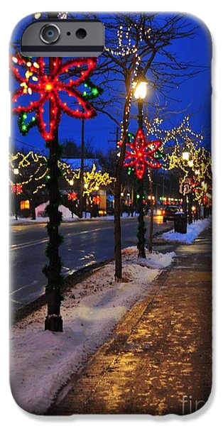 Clare Michigan iPhone Cases - Clare Michigan Decorated for Christmas 2 iPhone Case by Terri Gostola