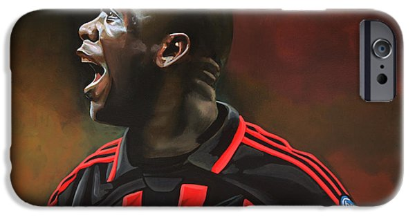 Sports Paintings iPhone Cases - Clarence Seedorf iPhone Case by Paul  Meijering