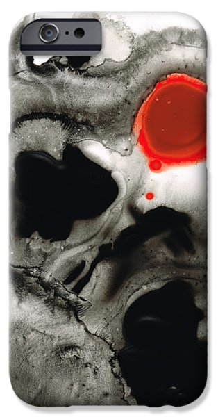 Red And Black iPhone Cases - Clarity - Black And White Art Red Painting iPhone Case by Sharon Cummings