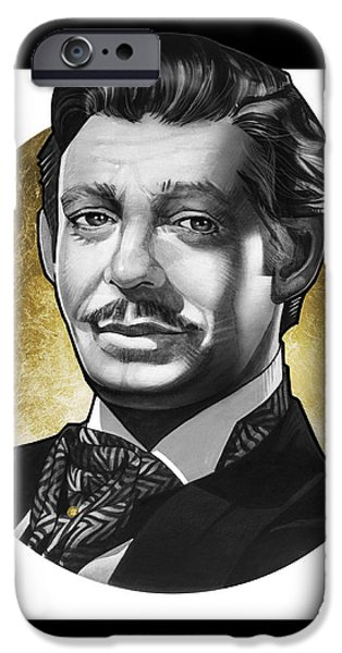 Archetype Paintings iPhone Cases - Clark Gable iPhone Case by T M Rhyno