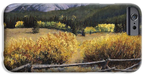 Gold Pastels iPhone Cases - Clark Peak iPhone Case by Mary Giacomini