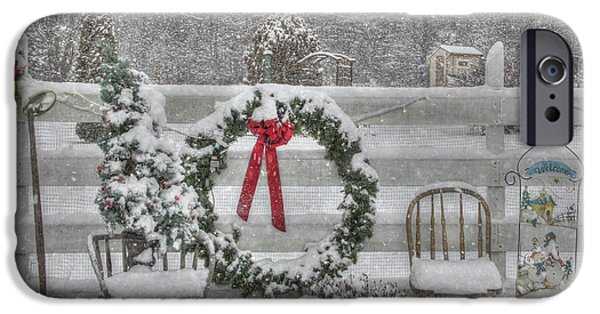 Winter Storm Digital iPhone Cases - Clarks Valley Christmas 3 iPhone Case by Lori Deiter