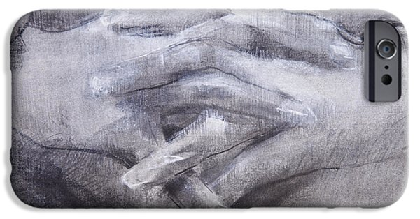 White Pastels iPhone Cases - Clasped Hands iPhone Case by Janet Goddard