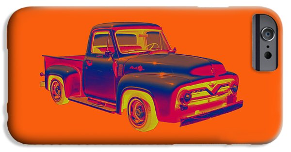 Ford Truck iPhone Cases - Classic 1955 F100 Ford Pickup Pop Art iPhone Case by Keith Webber Jr