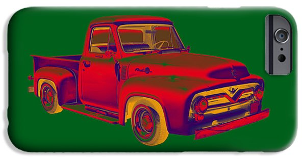 Ford Truck iPhone Cases - Classic 1955 F100 Ford Pickup Truck Popart iPhone Case by Keith Webber Jr