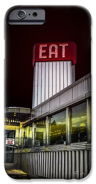 Diners iPhone Cases - Classic American diner at night iPhone Case by Diane Diederich