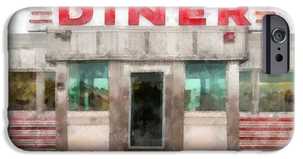 Diners iPhone Cases - Classic American Diner Watercolor iPhone Case by Edward Fielding