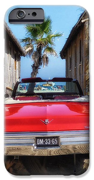 St.tropez iPhone Cases - Classic Cadillac in St Tropez  iPhone Case by Mountain Dreams