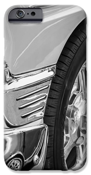 Classic Car Pictures iPhone Cases - Classic Car Reflections - Training Wheels -179bw iPhone Case by Jill Reger