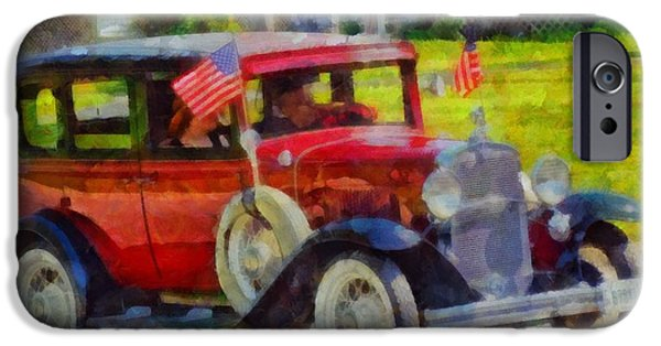 Fourth Of July iPhone Cases - Classic Cars American Tradition iPhone Case by Dan Sproul