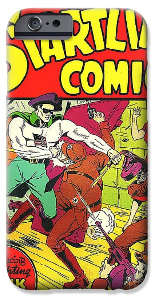 Recently Sold -  - Ww1 iPhone Cases - Classic Comic Book Cover - Startling Comics The Fighting Yank - 1236 iPhone Case by Wingsdomain Art and Photography