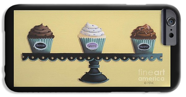 Catherine White Paintings iPhone Cases - Classic Cupcakes iPhone Case by Catherine Holman