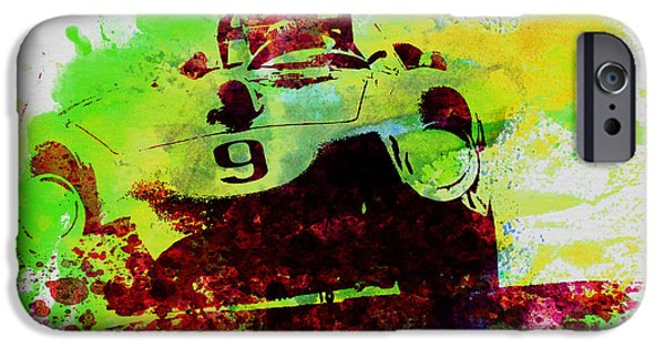 Old Cars iPhone Cases - Classic Ferrari on Race track iPhone Case by Naxart Studio