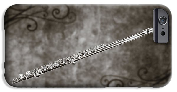 Business Digital iPhone Cases - Classic Flute music instrument photograph in sepia 3306.01 iPhone Case by M K  Miller