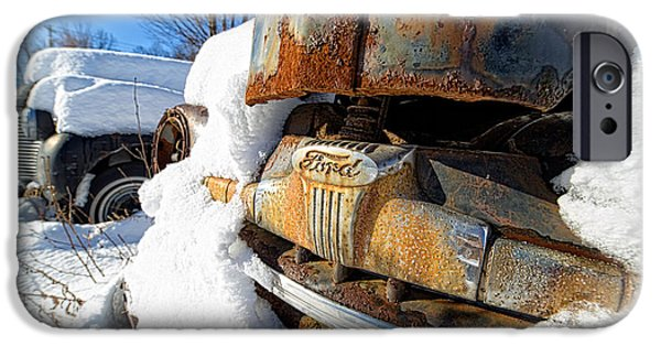 Ford Truck iPhone Cases - Classic Ford Pickup Truck in the snow iPhone Case by Edward Fielding
