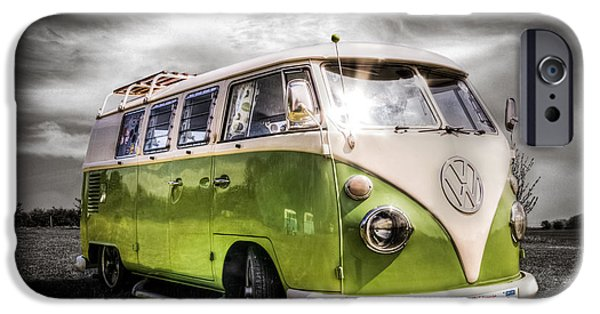 Vw iPhone Cases - Classic green VW Campavan iPhone Case by Ian Hufton
