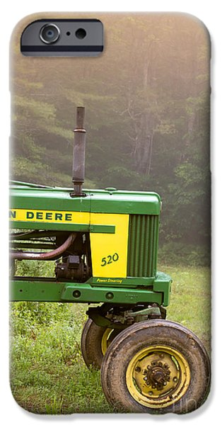 Plow iPhone Cases - Classic John Deere 520 Tractor iPhone Case by Edward Fielding