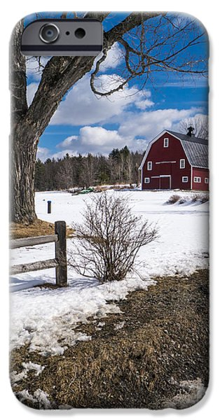 Red Barn iPhone Cases - Classic New England Farm Scene iPhone Case by Edward Fielding