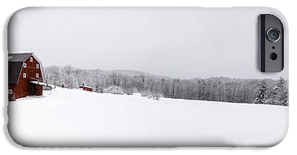Winter Storm iPhone Cases - Classic New England Red Barn in Winter Storm iPhone Case by Edward Fielding