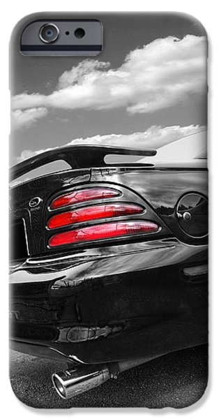 1990s iPhone Cases - Classic Nineties Mustang in Black and White iPhone Case by Gill Billington