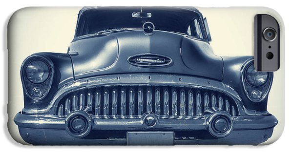 Square Photographs iPhone Cases - Classic old car on vintage background iPhone Case by Edward Fielding