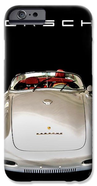 Industry iPhone Cases - Classic Porsche Silver Convertible Sports Car iPhone Case by Edward Fielding