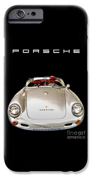 Events iPhone Cases - Classic Porsche Silver Convertible Sports Car iPhone Case by Edward Fielding