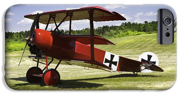 World War One Photographs iPhone Cases - Classic Red Barron Fokker Dr.1 Triplane Photo iPhone Case by Keith Webber Jr