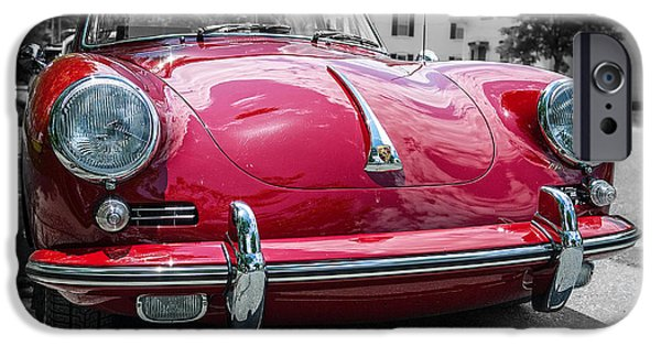 Cars iPhone Cases - Classic Red Porsche sports car iPhone Case by Edward Fielding