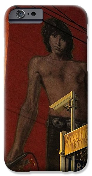Mural Pyrography iPhone Cases - Classic Venice Beach Morrison iPhone Case by Shannon Kringen