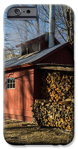 Sheds iPhone Cases - Classic Vermont Maple Sugar Shack iPhone Case by Edward Fielding