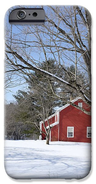 Clapboard House iPhone Cases - Classic Vermont red house in winter iPhone Case by Edward Fielding