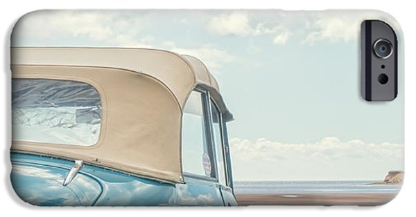 Prince iPhone Cases - Classic Vintage Morris Minor 1000 Convertible at the beach iPhone Case by Edward Fielding
