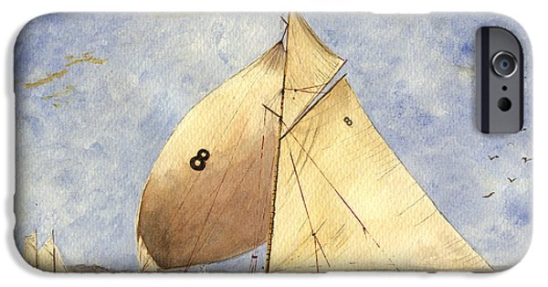 Regatta iPhone Cases - Classic yacht Barcelona iPhone Case by Juan  Bosco