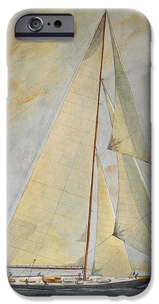 Original Watercolor iPhone Cases - Classic Yacht iPhone Case by Juan  Bosco