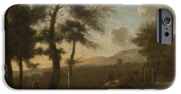 Landscape With Figure iPhone Cases - Classical French Landscape iPhone Case by Frederik De Moucheron