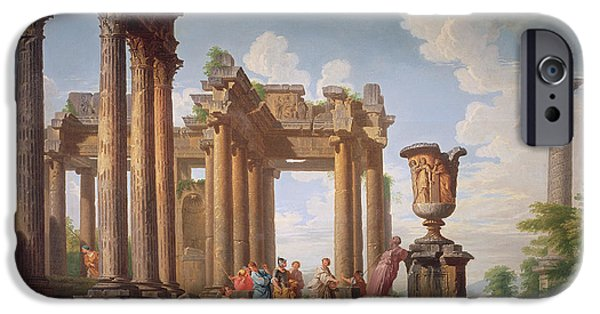 Ruin iPhone Cases - Classical Scene iPhone Case by Giovanni Paolo Pannini or Panini