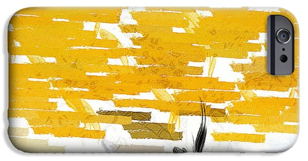 Hue iPhone Cases - Classy Yellow Tree iPhone Case by Lourry Legarde