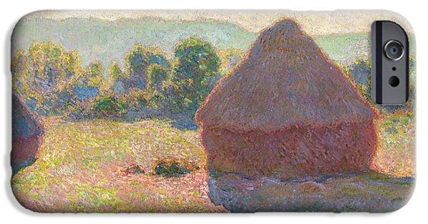 Midday Paintings iPhone Cases - Claude Monet - Haystacks Midday iPhone Case by Claude Monet
