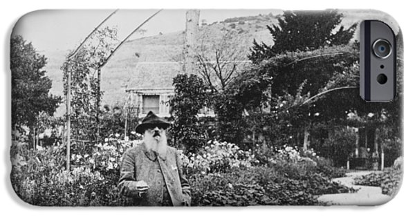 Painter Photographs iPhone Cases - Claude Monet in his garden at Giverny iPhone Case by French School