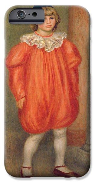 Pierre Auguste Renoir iPhone Cases - Claude Renoir in a Clown Costume iPhone Case by Pierre Auguste Renoir