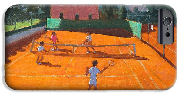 Net Paintings iPhone Cases - Clay Court Tennis iPhone Case by Andrew Macara