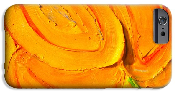 Yellow Reliefs iPhone Cases - Clay Play 5 - blossom iPhone Case by Steve Sommers