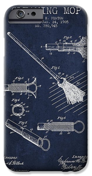 Antiques iPhone Cases - Cleaning Mop patent from 1905 - Navy Blue iPhone Case by Aged Pixel