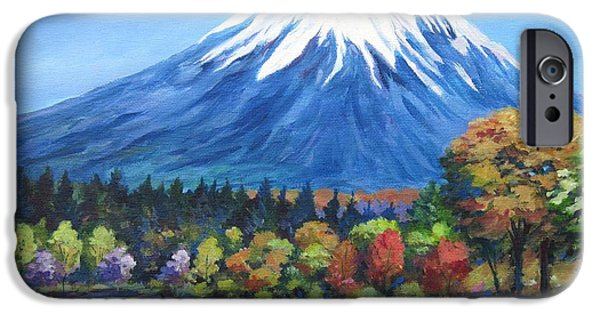 Phlox iPhone Cases - Clear Day Mount Fuji iPhone Case by John Clark