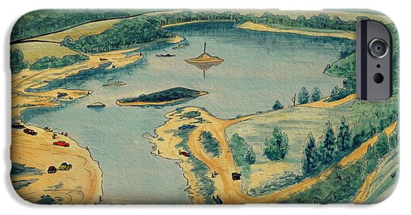 Pen And Ink Illustration iPhone Cases - Clearwater Lake Early Days iPhone Case by Kip DeVore