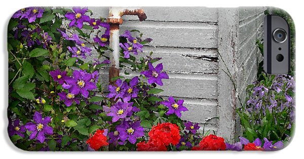 Red Geraniums iPhone Cases - Clematis Cascade iPhone Case by Doug Kreuger