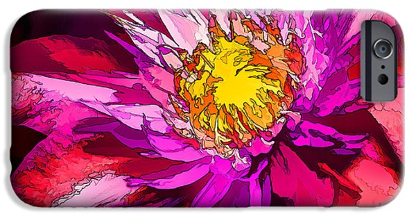 Floral Digital Art Digital Art iPhone Cases - Clematis Flower in Scarlet iPhone Case by Bill Caldwell -        ABeautifulSky Photography